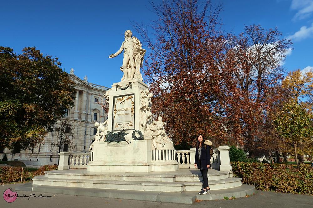 Mozart Statue in Burggarten, Vienna, Austria