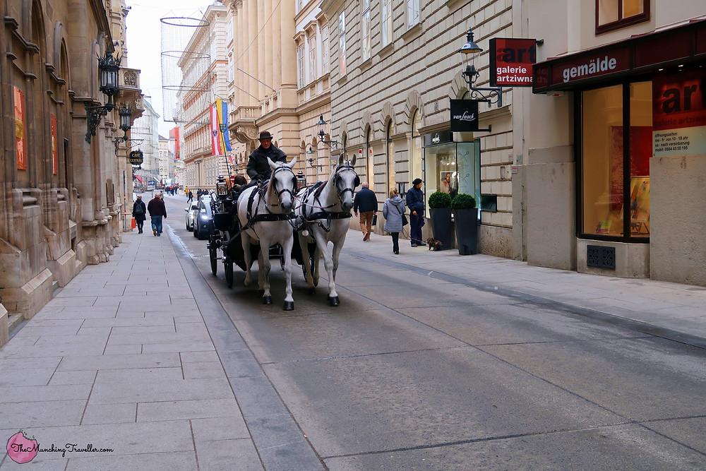 Ride on a horse-drawn carriage in Vienna, Austria