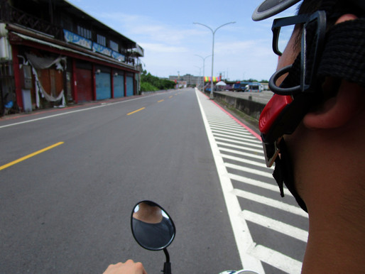 Riding a scooter in Taipei, Taiwan