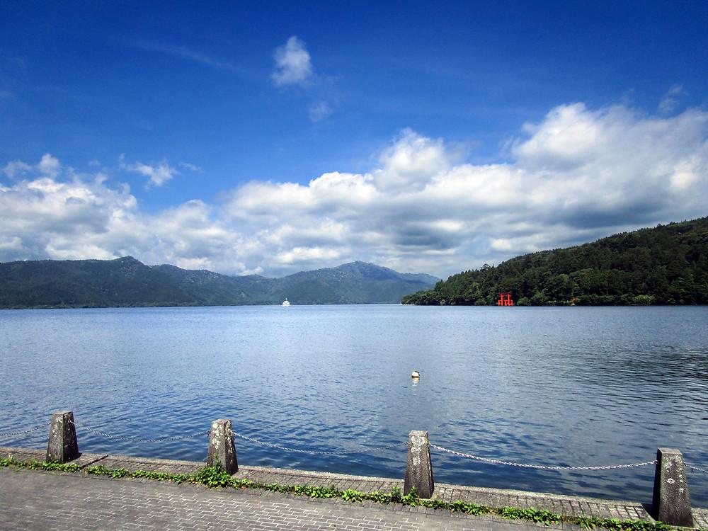 Lake Ashi with Hakone Shrine's Torii gate in the distance