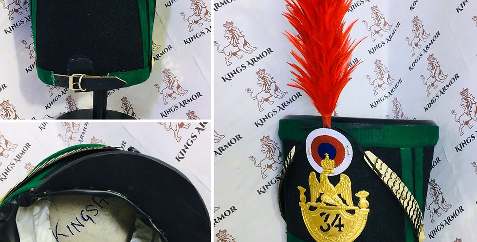 Napoleonic Shako Helmet | Black Color with Green Border| Size M to XL Adjustable