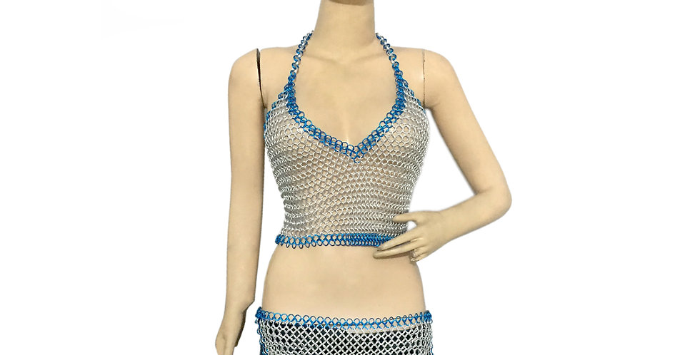Aluminum Chainmail Butted Skirt & Top Multi Color Costume