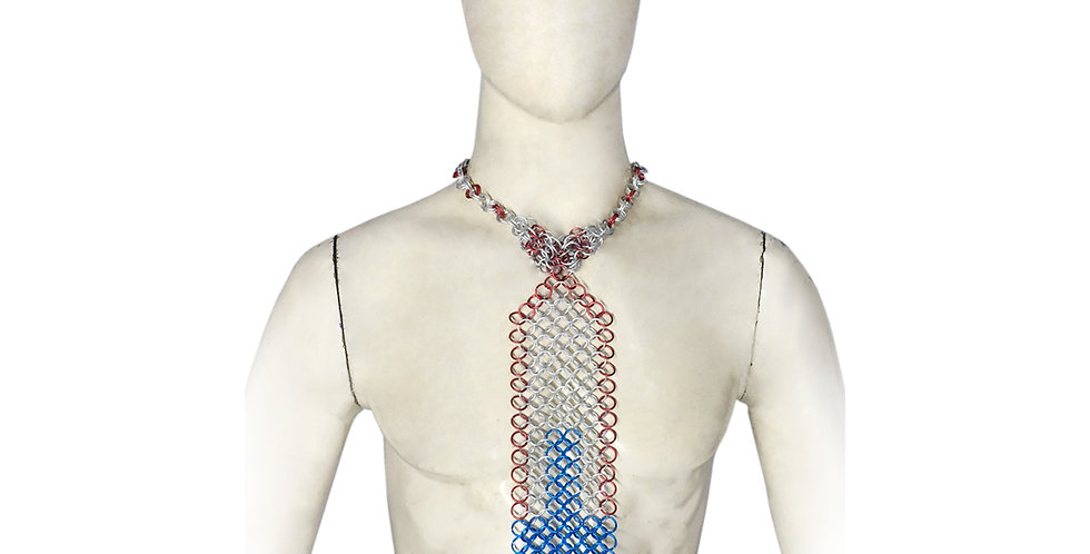 Chainmail Tie | Red & Blue Cross