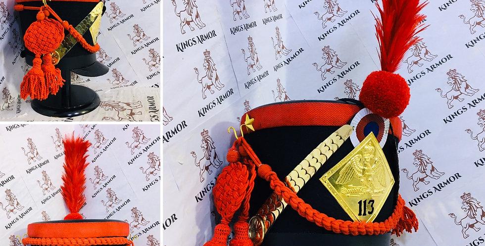 Napoleonic Shako Helmet | Black Color & Red Outline| Size M to XL Adjustable
