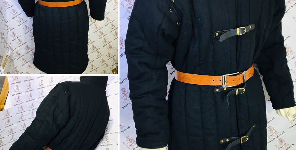 Medival Padded Armor | Black Gambeson| Size - S to 3XL | 100% Pure Cotton.