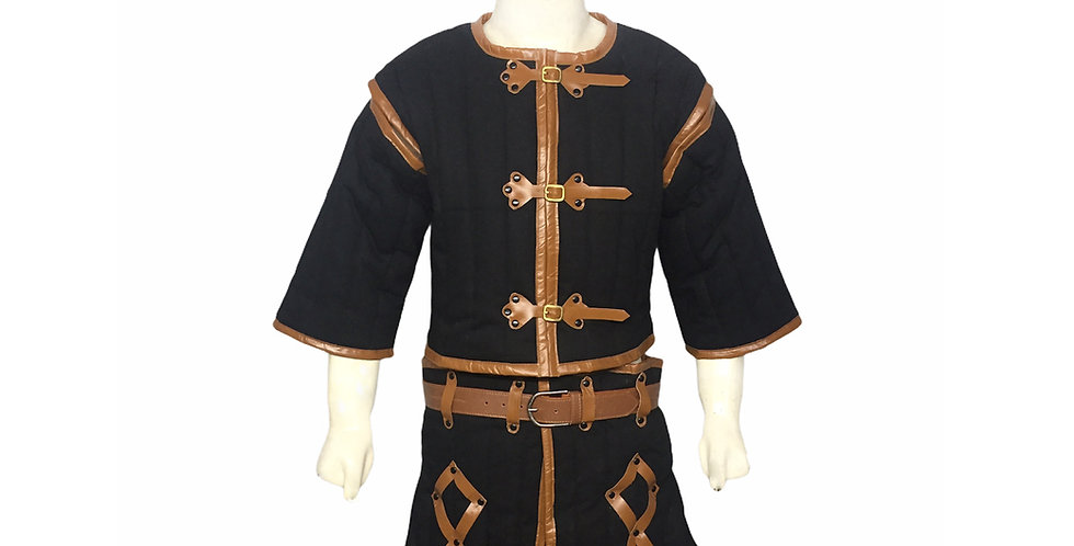 Black Color Gambeson | Leather border