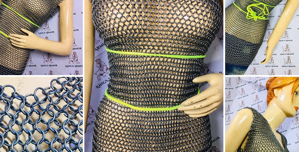Black Steel Sleeveless Chainmail Shirt| 16 guage 9mm budded ring | Size -L