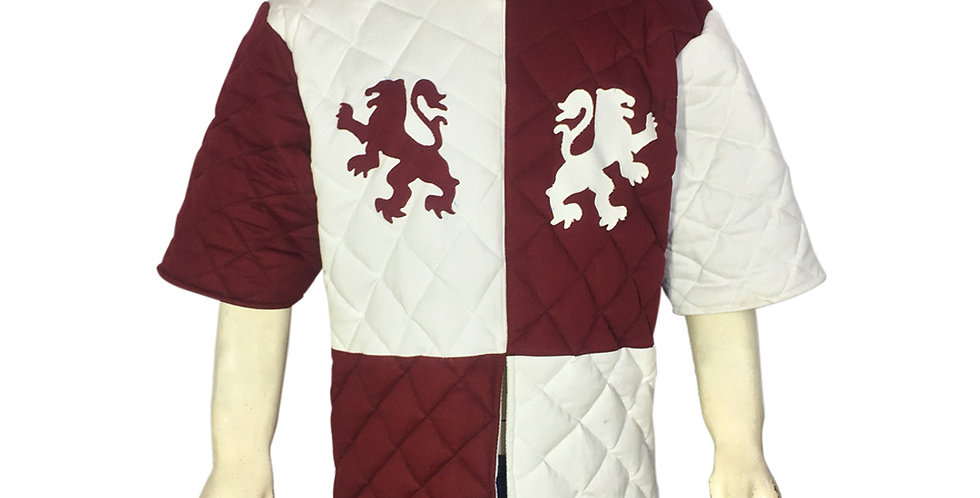New Medival White and Maroon Gambeson Costume.