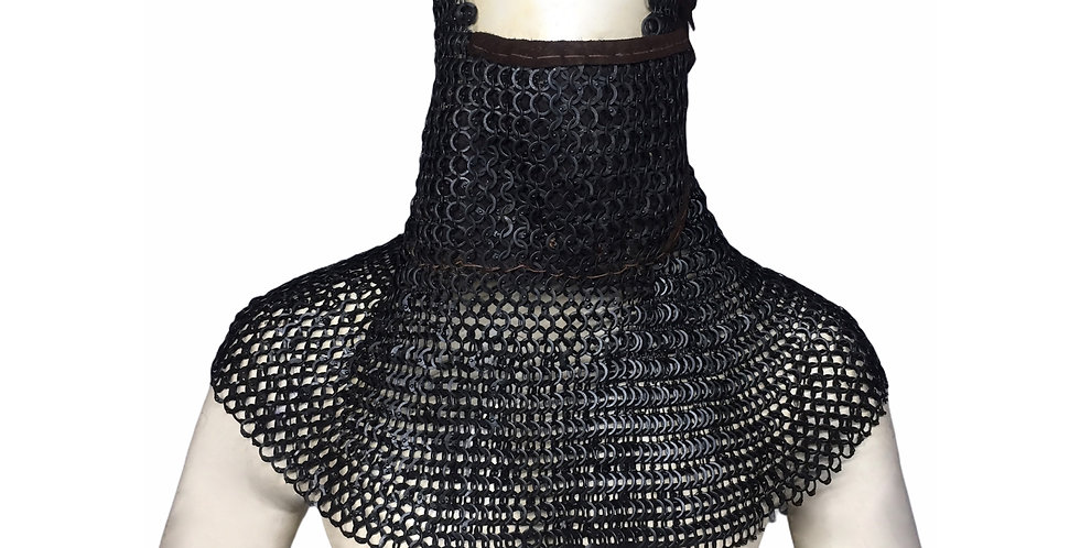 Black Chainmail Hood | leather Mask | 10mm FRSR