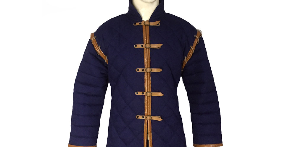 Blue color Gambeson with leather border | Adjustable Sleeves