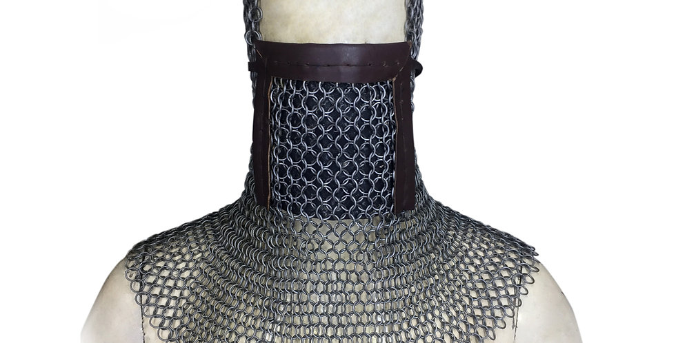 Chainmail Hood With Leather Mask