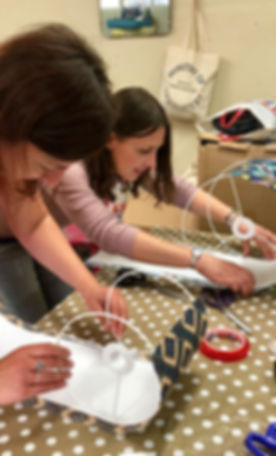 Crafters in action at one of our Lampshade Workshops
