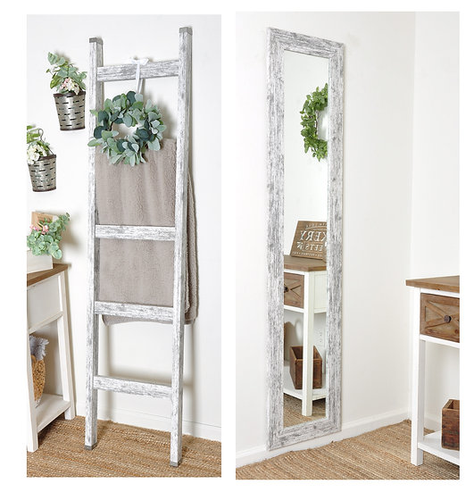 Whitewashed wood ladder
