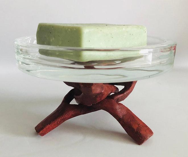 Glass Dish + Wood Stand