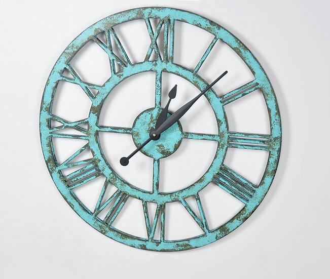 24 Inch Industrial Style Wall Clock - Aqua