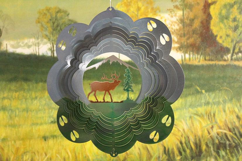 """12"""" Elk Wind Spinner - Forrest Printed"""