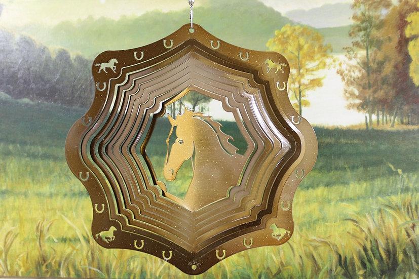 """12"""" Horse Head Wind Spinner - Copper Starlight"""