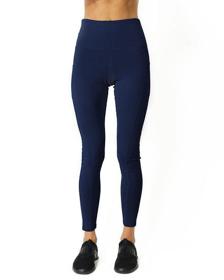 High Waisted Yoga Leggings - Navy Blue