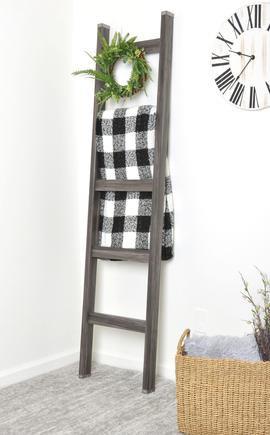 Wood blanket ladder Grey