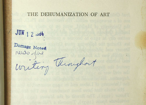 """""""Damage Noted"""" librarian notation"""