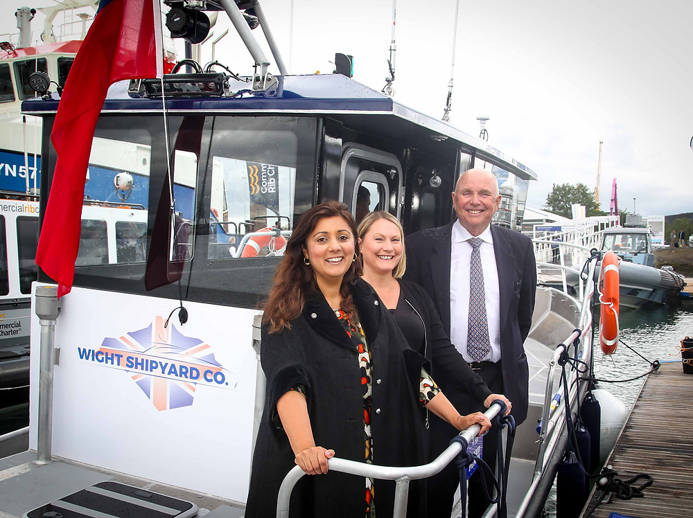Nusrat Ghani, Peter Morton, Jo Daly onboard 9m Hybrid at Seawork