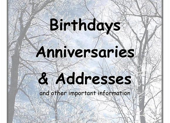 Forever Book - Birthdays, Anniversaries & Addresses