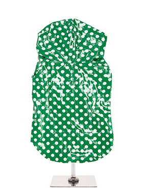 Urban Pup Carnaby Polka Dot Hooded Waterproof Raincoat - Green