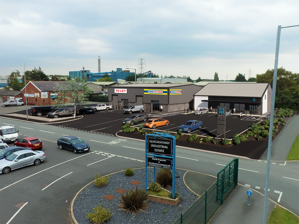 New build light industrial units convenience store
