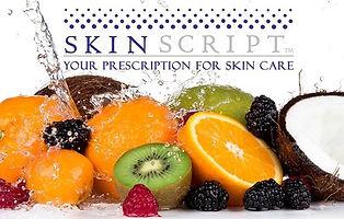 SkinScript Your prescription for ski care. Image of water splashing on bright colorful fruit.