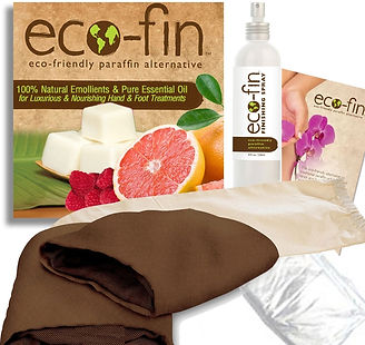 Eco-Fin. Eco-friendly paraffin altenative. Image of Eco-fin products.