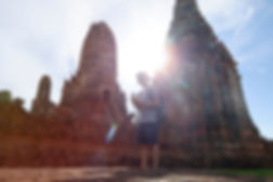 Man Standing in Front of Angkor Wat, Cam