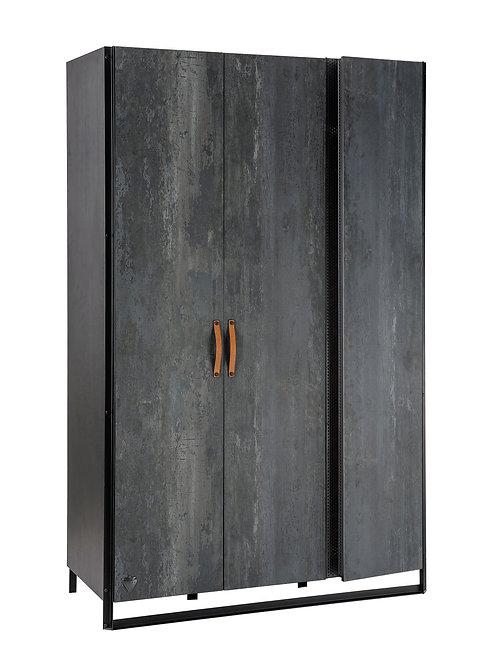 Dark Metal 3 Door Wardrobe