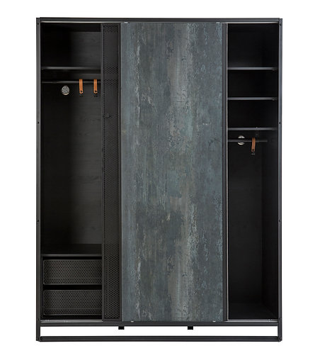 Dark Metal Large Sliding Wardrobe