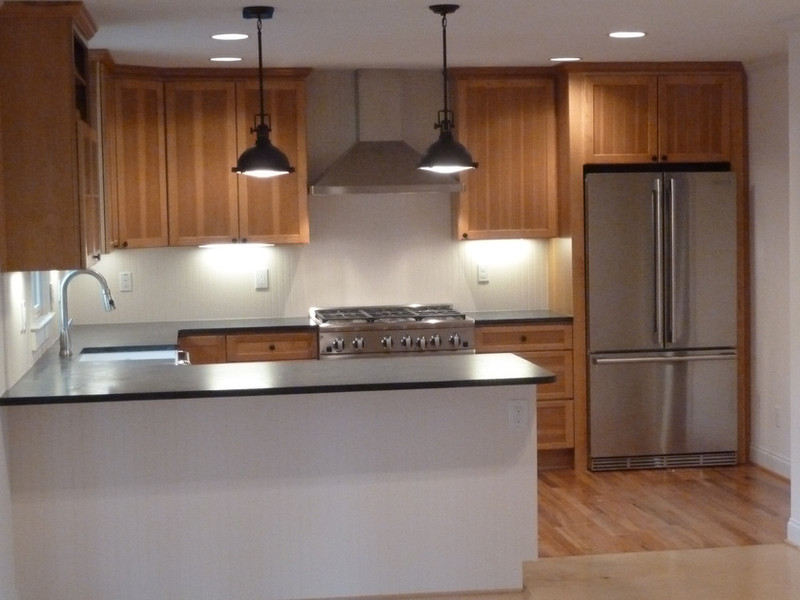 Kitchen with soapstone countertops, Hickory Cabinets