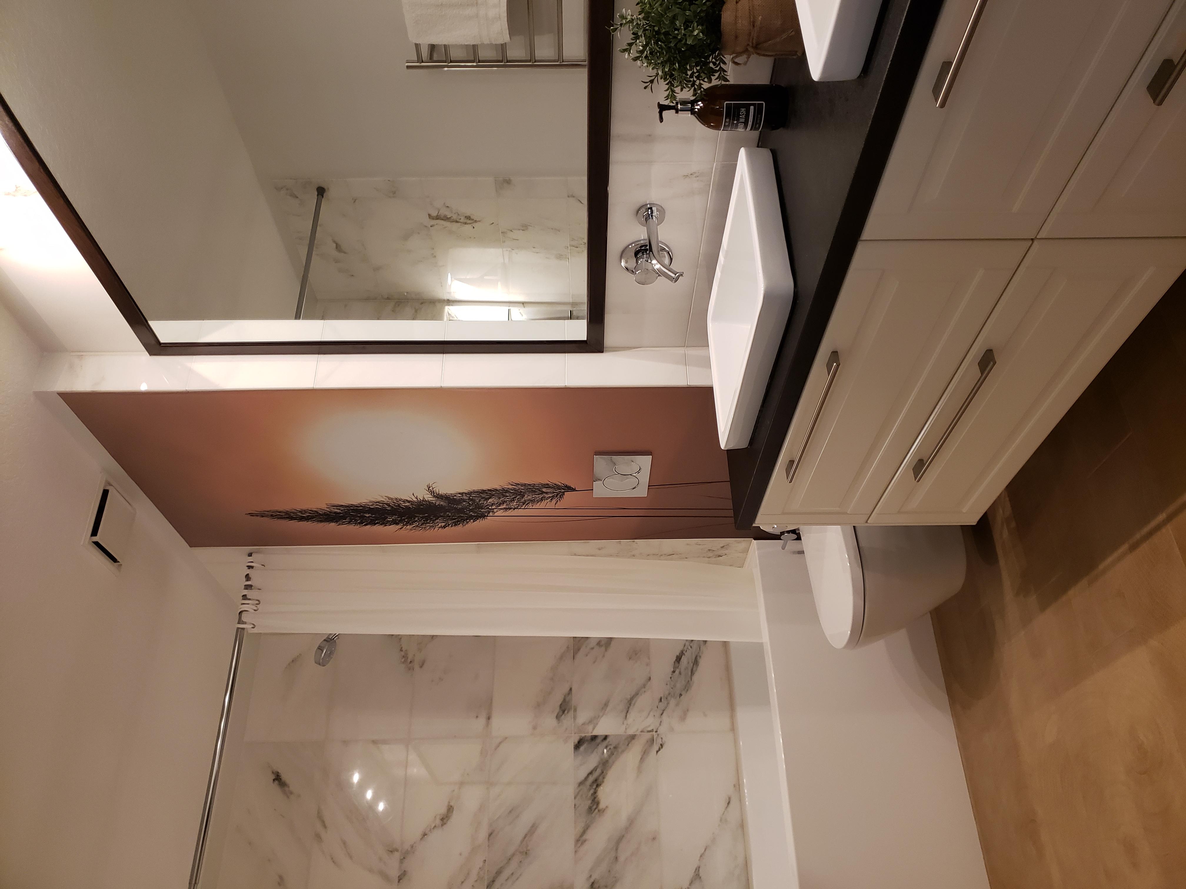 bathroom renovation with vinyl