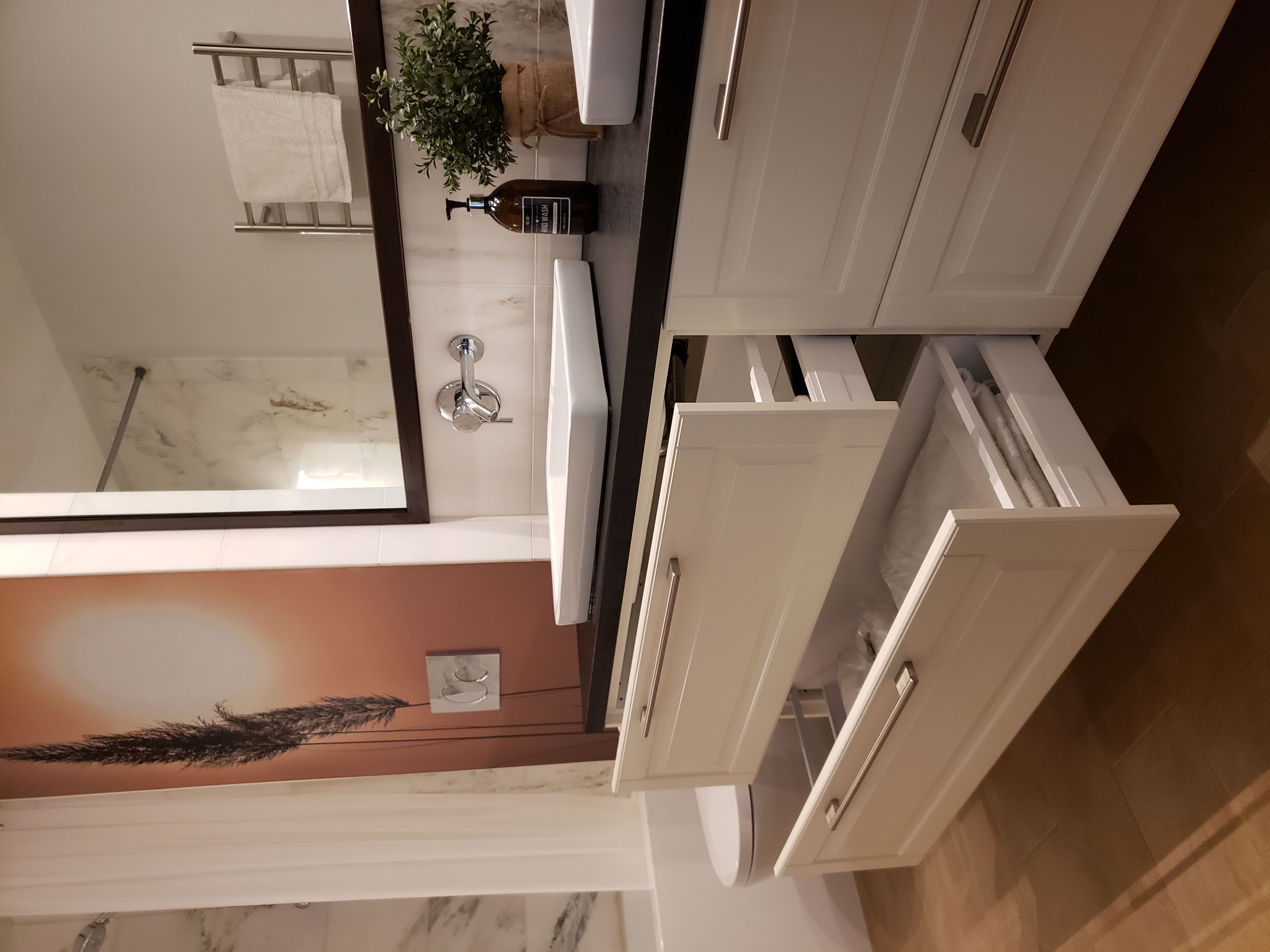 bath with big vanity storage drawers