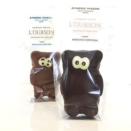 Ourson Guimauve Fraise Chocolat Noir