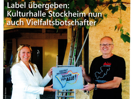 Kulturhalle Stockheim ist nun Vielfaltsbotschafter