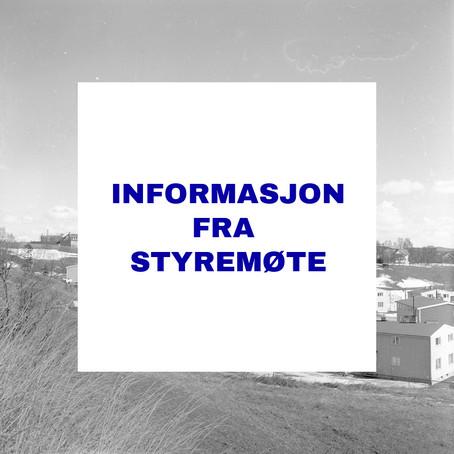 Informasjon fra styremøter 5. og 7. oktober 2020