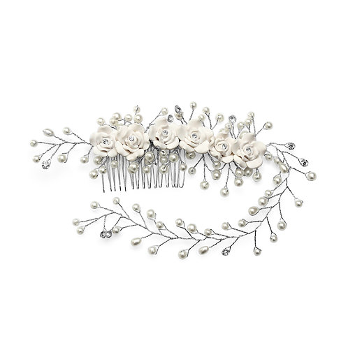 Joy Charm Flowers and Lines Hair Comb