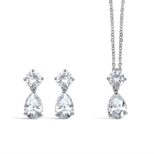 Anastasia - Classic Teardrop Jewellery Set (Silver)