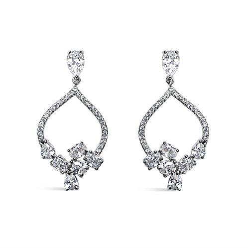 Billy Peach Cluster Earrings (Silver)
