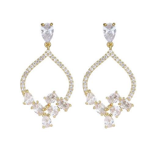 Billy Peach Cluster Earrings (Gold)