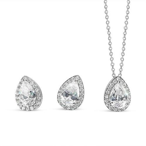 Angela Mono Cluster Peardrop Jewellery Set