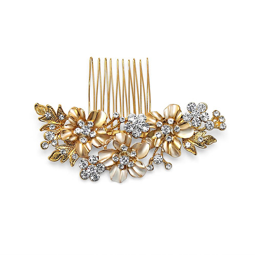 Jordon Gold Flower Hair Comb