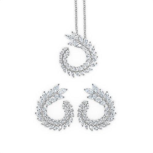 Abigail Autumn Leaf Jewellery Set (Silver)