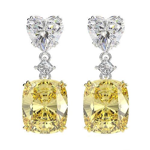 Brandy Heart & Square Cut Earrings (Yellow)
