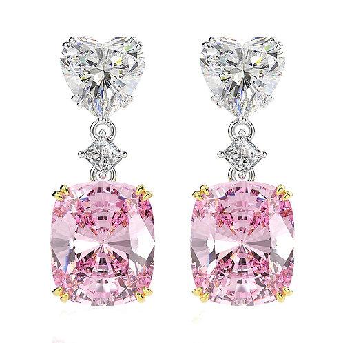 Brandy Heart & Square Cut Earrings (Pink)