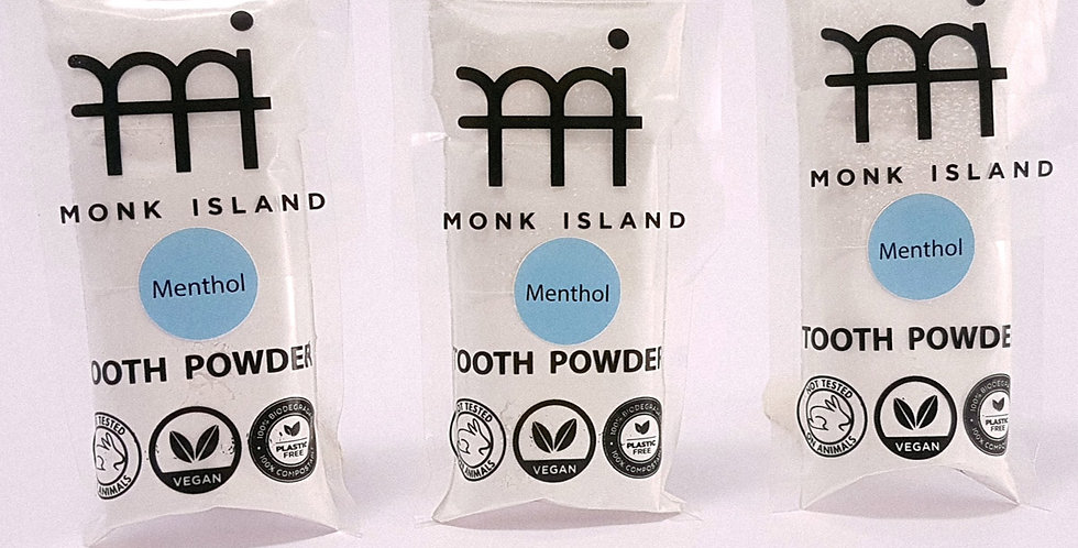 Monk Island tooth-powder with Menthol, 3 packs x 35g