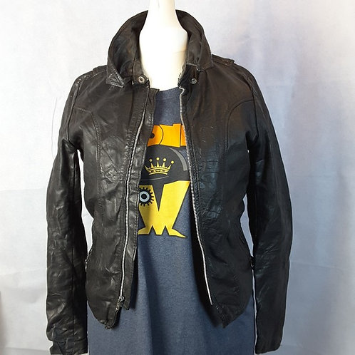 Ladies Biker Leather Jacket - 38